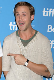 Ryan Gosling wore an unassuming leather watch as he hammed it up for the reporters at the 2011 TIFF press conference.