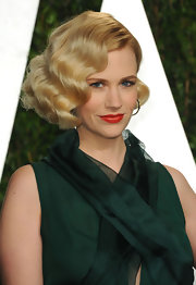 January Jones wore her hair in retro Marcel waves at the 2012 'Vanity Fair' Oscar Party.
