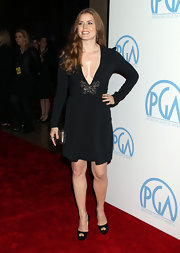 Amy Adams sizzled on the red carpet in black platform peep toes.