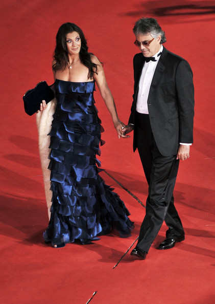 Veronica's rich navy-blue layered gown was a standout at the Rome International Film Festival.