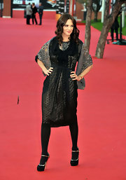 Asia Argento walked on the Rome International Film Fest red carpet wearing a black dotted dress.