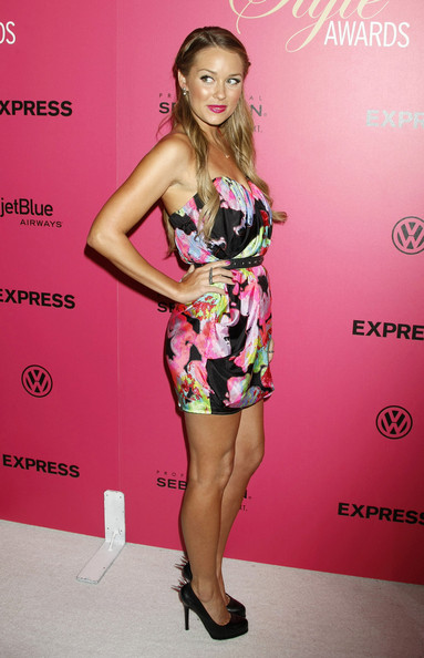 Lauren Conrad matched her magenta nails to the pink tones in her floral cocktail dress.