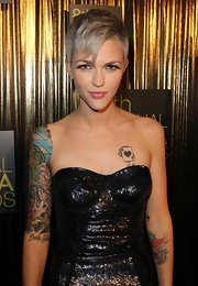 Ruby Rose showed off her deck of aces tattoo while at the Astra Awards.