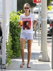 Alessandra Ambrosio kept her look casual with a Jimmy Hendrix tee and cutoff jeans.