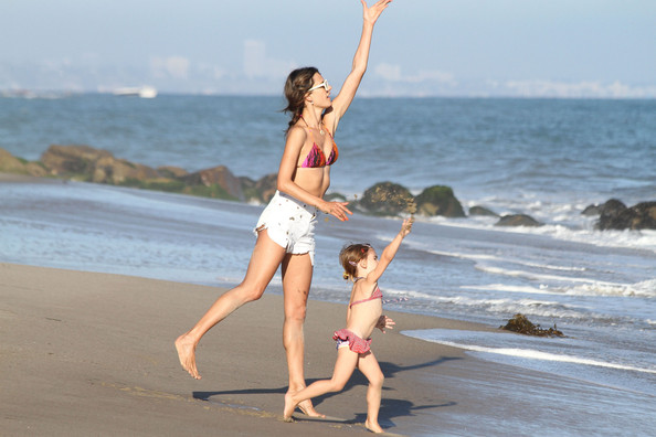 Alessandra Ambrosio and Anja Play in the Sand