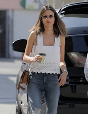 Alessandra Ambrosio was spotted out on a coffee run in LA wearing a pair of round sunglasses.