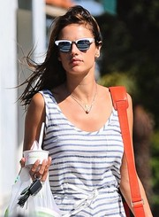 Alessandra Ambrosio rocked a pair of modernized cateye sunnies by Westward \\ Leaning while running errands in Brentwood.