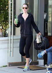 Ali Larter played it casual in a dark gray workout hoodie while running errands in Hollywood.