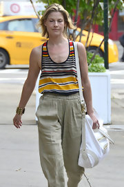 Ali Larter was cute and casual in this striped tank and linen pants.
