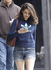 Alison Brie looked sporty on the streets of LA in a blue Adidas hoodie.
