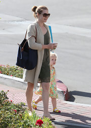 Amy Adams wore an navy blue Longchamp carry-all for a fun day with her family.