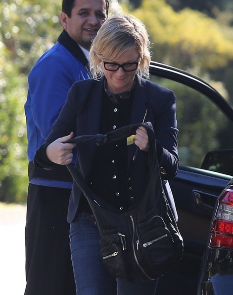Amy Poehler Leather Shoulder Bag