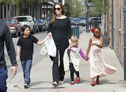 Zahara Jolie-Pitt looked so sweet in this breezy pale pink maxi dress.
