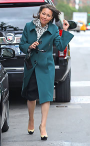 Ann Curry cozied up in style in a green wool coat during a meeting in New York.