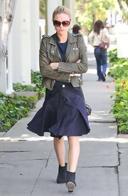 Anna Paquin rocked a denim pleated skirt while heading to an LA salon.