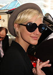 Ashlee Simpson was playful in these heart-shaped sunglasses out in Sydney.