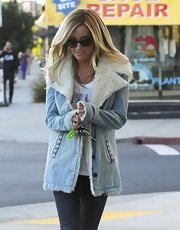 How cozy does this shearling denim jacket look on Ashley?