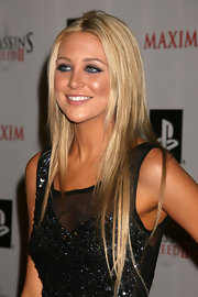 Stephanie Pratt is seen her at the launch party sporting a center part and long blonde locks.