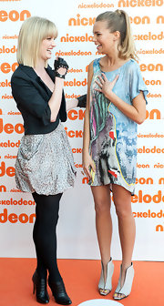 Indiana Evans added a futuristic touch to her outfit with a pair of white peep-toe ankle-boots at the Australian Nickelodeon Kids' Choice Awards.