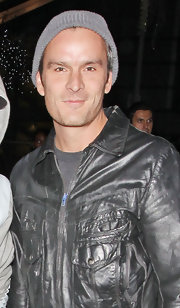 Balthazar wore this black leather jacket at a music event in the Staples Center.
