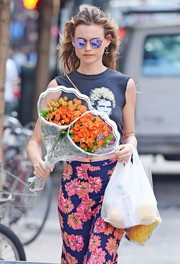 Behati Prinsloo stepped out in New York City wearing cool purple shades.