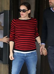 Jennifer Garner opted for a classic and preppy striped sweater for her look while out with husband, Ben Affleck.