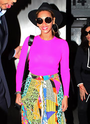 Beyonce Knowles got funky in these circle wire-frame shades out in NYC.