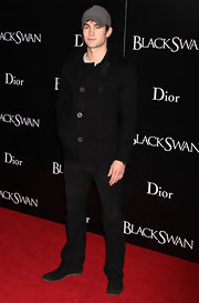 Chase Crawford showed off a button down pea coat at the premiere of 'Black Swan'.