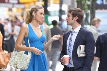 Blake Lively Chace Crawford Gossip Girl Films In New York