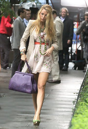 Blake was sported on the set of 'Gossip Girl' with a purple crocodile satchel.