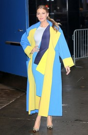 Blake Lively cut a bold figure in her Roksanda color-block coat and dress combo while leaving 'Good Morning America.'