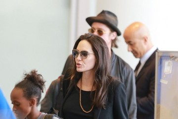 Brad Pitt Zahara Jolie Pitt Brad Pitt and Angelina Jolie Departing Los Angeles With Their Kids