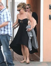 Britney Spears was ready for the California sun with this black strapless dress with a high-low hem.