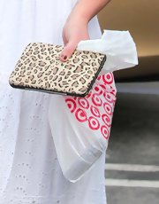 Britney Spears held a leopard print billfold for her trip to Target.
