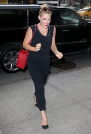 Busy Philipps went out and about in New York City wearing a simple yet chic sleeveless jumpsuit.