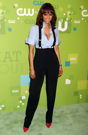 Tyra went preppy in her suspenders and button-down at the CW event in NY.