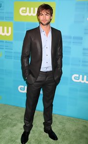Chace Crawford paired his black suit with patent leather oxfords.