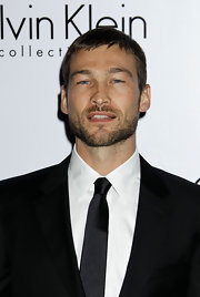 Andy Whitfield went for a low-maintenance short straight cut at the Calvin Klein and Los Angeles Nomadic Division event.