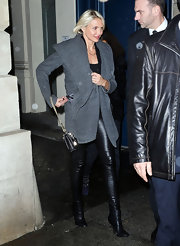 Cameron opted for luxe leather at Fashion Week, wearing leather leggings paired with matching ankle boots.