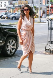 Camila Alves looked gorgeous in a draped pink wrap dress while out and about in New York City.