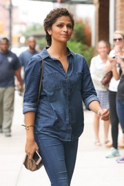 Camila Alves styled her casual outfit with a gold bangle for a day out in New York City.
