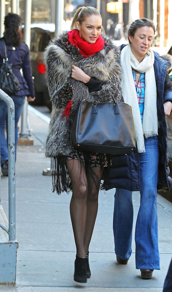 Candice Swanepoel Sported A Luxe Black Leather Prada Tote On The Streets Of Nyc