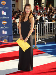 Jamie Chung punctuated her black minimalist gown at the premiere of 'Captain America: The First Avenger' with crimson lips and a sunny yellow clutch.