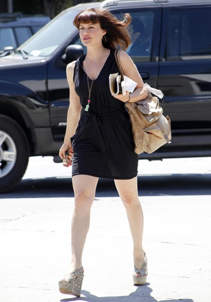 Carla Gugino Leather Shoulder Bag