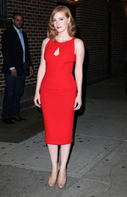 Jessica Chastain donned a figure-flaunting, cleavage-flashing red dress by Roland Mouret for her appearance on 'The Late Show with Stephen Colbert.'