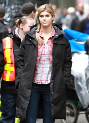 Alexandra Daddario braved the cold on the set of 'Percy Jackson: Sea of Monsters' in a long puffa jacket.