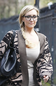 Catherine Tyldesley left the set of 'Coronation Street' in Manchester wearing her hair in a long braid.