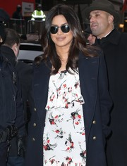 Priyanka Chopra kept her eyes hidden behind a pair of wayfarer sunglasses as she headed to 'Good Morning America.'