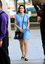 Rumer Willis headed to Adele's concert wearing a loose denim shirtdress.