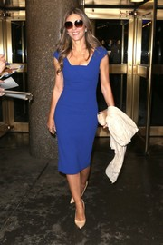 Elizabeth Hurley shines in a figure-hugging blue midi dress while appearing on 'The Today Show' in NYC